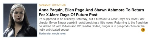 Paquin is given first billing and Rogue is the only image shown.