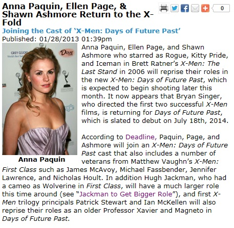 Paquin is first billing and they didn't even bother with a 'Rogue' image instead going for the actress herself.