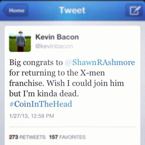 Kevin Bacon #CoinInTheHead Twitter