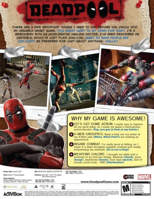 Deadpool video game back cover